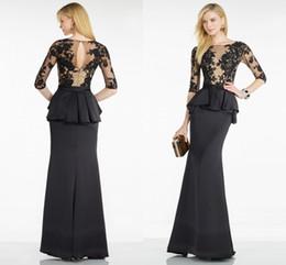 Wholesale Elegant Half Sleeve Evening Dress Lace Appliques Mermaid Floor Length Long Women Scoop Formal Prom Dinner Dress Vestidos De Noche