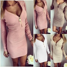 Wholesale Women Dress Long Sleeve V neck Dress Sexy Stretch Bodycon Dresses Fashion Sring Autumn Style One Piece Casual Clothing