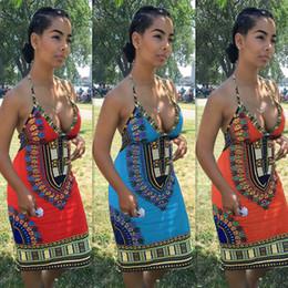 Wholesale 2016 New African fashion design skirt traditional print totem Dashiki clothing National characteristics sleeveless V neck backless dresses