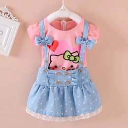Wholesale Cute Cat Printing Girls Tee and Denim Dress Kids Sets Girls Summer Clothes