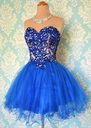 Wholesale Sparkle Red Blue Homecoming Dress A line Short Mini Tulle Cocktail Dress Sweetheart Lace up Prom Dress with Crystals Appliques