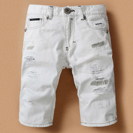 White Jean Shorts For Men - The Else
