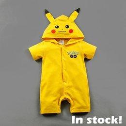 Новорожденные # 50 Pikachu Ромпер С Hoodied младенца лета Мальчики Девочки Короткие Комбинезоны Bodysuits пижаме Дети Хлопок Одежда