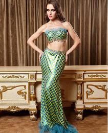 Wholesale 2016 Fashion Sequins Bra fishtail Dress Vestidos de novia sin tirantes de la sirena de la sirena de los trajes atractivos de la sirena Clubwear Roleplay cosplay de los seamaid cosplay