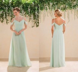 Wholesale 2016 Sage Lime Green Off Shoulders Chiffon Bridesmaid Dresses Spaghetti Ruched Long Courty Style Cheap Boho Maid of the Honor Party Dresses