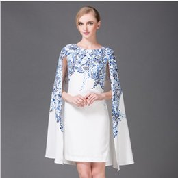 Wholesale 2016 Women European Style Fashion Blue And White Porcelain Printed Cloak Dress Women Summer Elegant Dress Women Clothing