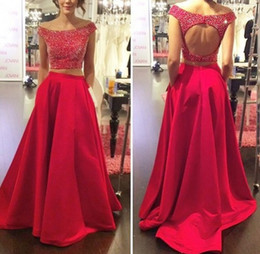 Wholesale Sexy Red Two Pieces Dresses Off The Shoulder Beading Top Satin Trumpet Skirt With Pockets Floor Length Evening Homecoming Prom Party Gown