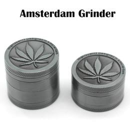 Amoladoras de Amsterdam de alta calidad 40 mm 4 piezas Molinillo de 3 piezas Molinillo de aleación de zinc Molturador de especias de hierbas Magnetip Top Grinder