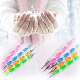 Wholesale 2 way Dotting Pen Marbleizing Tool Nail Polish Paint Manicure Dot Nail Art Set lset Fedex DHL free