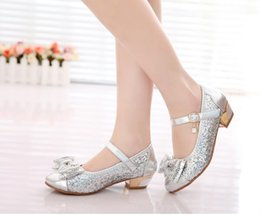 Wholesale New spring girls princess rhinestone sequins bowknot small high heeled shoes girl s pu leather shoes wedding flower girl shoes