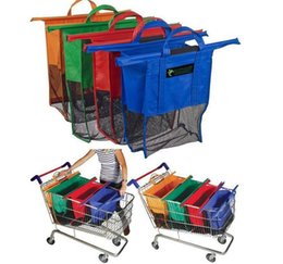 Wholesale 10set Large Size in1 Shopping Grocery Bag For Supermarket Trolleys Carrier Bag Shopping Bag Reusable Trolleys Folding Shopping Bag