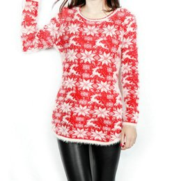 New Fashion Ladies Natal floco de neve Natal rena camisola camisola pequena para as mulheres soltas metros grandes camisola longa