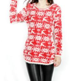 Nouveau mode dames de Noël flocon de neige de Noël renne chandail petit chandail pour les femmes en vrac grand chandail chandail long