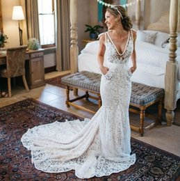 Wholesale V Neck Lace Long Mermaid Beach Wedding Dresses Sexy Illusion Sweep Train Sexy Formal Boho Bridal Gowns White Ivory New Arrival Bride