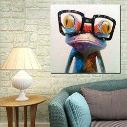 Носить очки лягушка ручная роспись маслом на холсте Большие Аннотация Мультфильм Живопись Украшение стены JL333