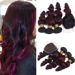 2017 ombre brazilian loose wave closure #1B 99J Ombre Loose Wave Hair With Closure Burgundy Human Hair 3 Bundles With Closure 8A Ombre Brazilian Hair Weave cheap ombre brazilian loose wave closure