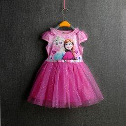 Wholesale 2 Couleur Filles Frozen Cinderella dentelle paillette manteau robe DHL enfants belle princesse Elsa Anna dentelle bowknot manches courtes robe enfants Clo