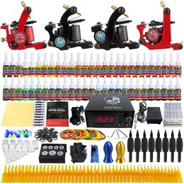 Wholesale Solong Tattoo Complete Beginner Tattoo Kit Pro Machine Guns Inks Power Supply Needle Grips Tips TKD01