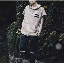 Wholesale TOP KANYE WEST Season oversized men s Hoodies FEAR OF GOD hiphop half Zipper ribbon longline Terry material Sweatshirt