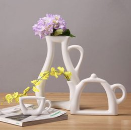 Discount Living Room Decorative Accessories Living Room Fashion Modern Style White Ceramic Tabletop Flower Wedding Decorative