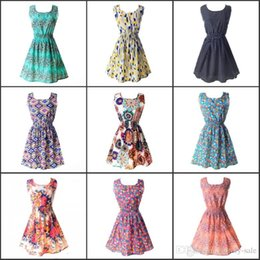 Wholesale Under Women Summer Casual Dresses For Women Casual Print Dresses European Style Vintage Women Clothing Designs FS0170