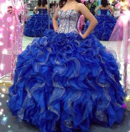 Wholesale Modesta en cascada de las colmenas de tren de Quinceanera del vestido de bola del azul real brillantes y acc Prom Vestidos Para Debutante del dulce por encargo Vestido