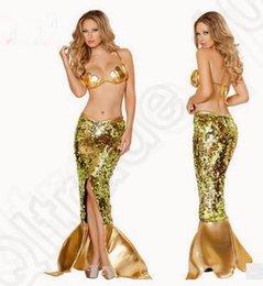 Wholesale LJJK182 brillante atractiva de la ropa interior del sujetador de la sirena conjunto uniforme de las lentejuelas de oro ropa de dormir de la falda de Cosplay del traje de oro sujetador vestido de la señora adulta set