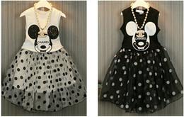 Wholesale Mickey Summer Tank Tops Skirt pc Children Clothes Kids Clothing Ruffle Maxi Skirt Korean Girl Dress Children Set Kids Suit Outfits