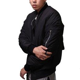 Wholesale Otoño Moda para hombre MA1 Bombardero de Hip Hop chaqueta del béisbol del equipo universitario de estilo militar Piloto de Calle Escudo con la cremallera del bolsillo