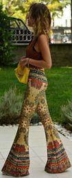 Wholesale 2016 Womens wide Leg Pattern Fashion Designed Palazzo Pants Floral Print Harem Pants Big Girl Womens Wear Dress Pants