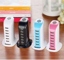 Discount tablet pc uk charger Smart Android phone Power Tower 8A 6 port USB charger multi usb charger travel US EU UK AU Plug power for IPAD Iphone tablet PC 10pcs lot