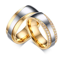 1 pair luxury vintage18k gold plating cz diamond new infinity design wedding bands engagement rings sets for women and men affordable wedding ring man woman - Wedding Ring Man