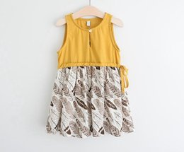 Wholesale 2016 Summer Baby girl kids Cotton feather dress Vest dress baby jumper jumpsuits Cute tie waistband belt years