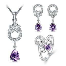2017 purple wedding rings designs wedding fashion hollow design 925 silver necklace earring ring a famliy - Purple Wedding Rings
