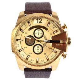 Wholesale 2016 Top Brand Watch Luxury Men Watches DZ4280 Oversized Case Mutiple Dials Date Display Leather Strap Quartz Sports watch