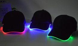 2016 led light hat glow hat black fabric outdoor sports night luminous hat stage performance optical fiber baseball cap black fabric lighting