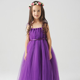 Wholesale Stock Cute Kids Flower Girls Dresses For Weddings Straps Tulle Communion Dress With Satin Sash and Bow Tie Purple Light Blue Peach Color