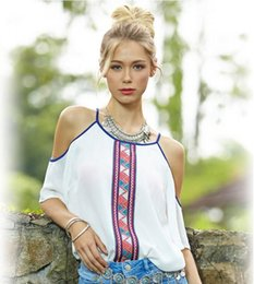 Wholesale Women White Chiffon Blouse Sexy Summer Off Shoulder Shirt Tops Lady Casual Short Sleeve Printed Blouse Blusas Plus Size XXL