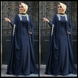 Wholesale Robe de soiree Saudi Arabian Navy Blue Arabic Evening Dresses Appliques Abaya Dubai Full Sleeve Muslim Moroccan Kaftan