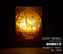 discount wedding decorations out paper hollow out deer remote control energy saving lamp paper bedside