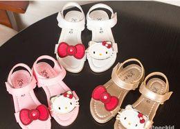 Wholesale 2016 Summer KT Cat Sandal Shoes Bowknot Cute Children Girls Pink Gold White Shoes Daily Cartoon Kids Princess Shoes B4079
