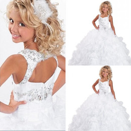 Wholesale 2016 Crystals Beaded Pageant Gowns for Little Girls Ritzee Spaghetti Straps Luxury Ruffles Floor Length Flower Girl Little Formal Dresses