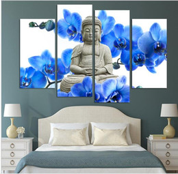 4 Pieces Free Shipping Hot Sell Modern Wall Painting Buddha The Buddha Face Home Decor Art Picture Paint On Canvas Prints