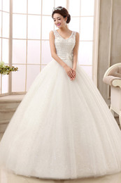 free shipping custom made sexy v neck tube top royal lace up ball gown luxucy crystal plus size wedding dress designers vestido de noiva