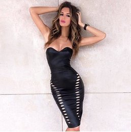 Black Strapless Leather Dress Online  Black Leather Strapless ...