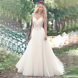 Wholesale 2016 Chiffon Beach Wedding Dresses Vintage Crystal Beaded Deep V Neck Boho Cheap Bridal Gowns Backless Vestidos De Novia