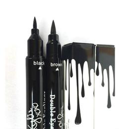 Wholesale kylie Jenner double eyeliner Makeup Black and brown Waterproof Eyeliner Liquid Eyeliner Pen Pencil Cosmetic Long LASTING Eyeliner