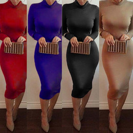 Wholesale Vestidos Hiver Femme kim kardashian Turtleneck Pencil Robes bodycon taille plus manches longues Club Sexy Party Automne Bandage Robes FS0716