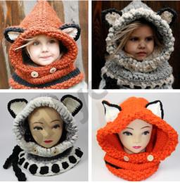 Wholesale Lovely fox ear winter windproof hats for kids crochet headgear Children winter beanies T baby winter beanies Fox Crochet hats D435