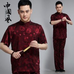 Wholesale Summer Men Tang Suit Set Shirt Blouse Pants Trousers Printing Tai Chi Clothes Traditional Chinese Clothing for Men Old People